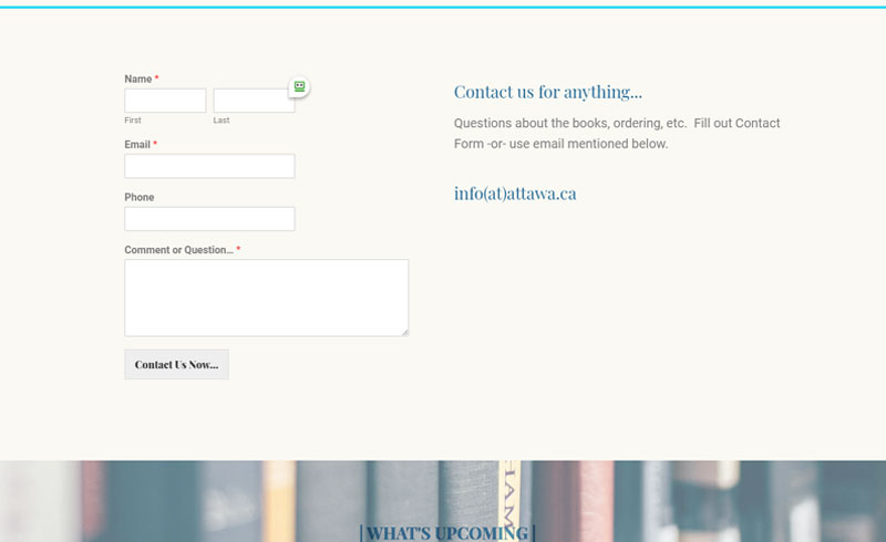 Projects - Attawandaron Hamilton's Publisher - Contact Page