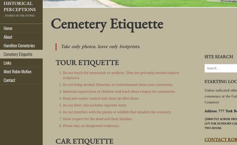 Hamilton Cemetery Tours - Historical Perceptions by Robin McKee
