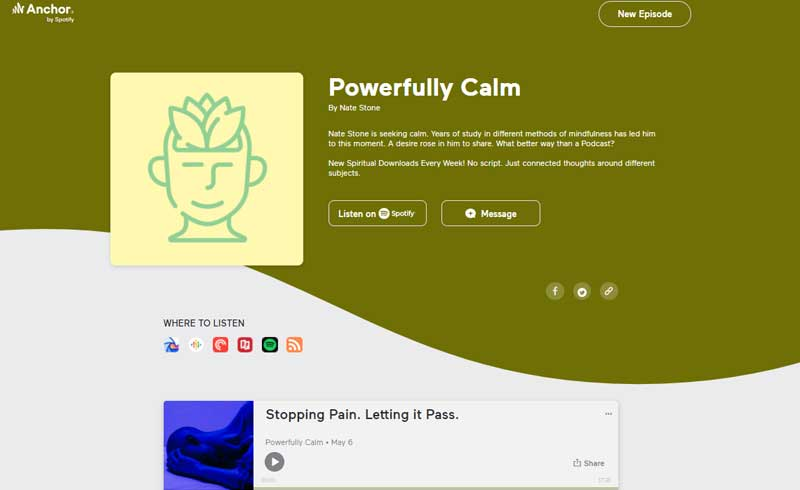 Podcast website - Powerfully Calm on Anchor (Spotify)