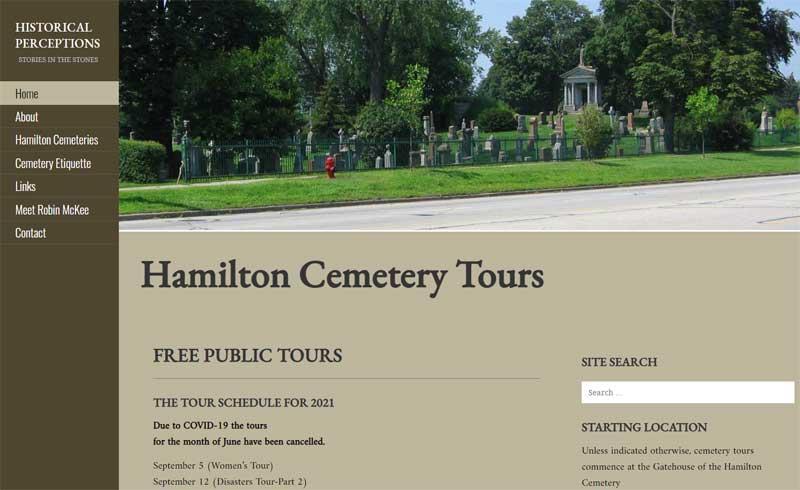 WordPress Development Project - Historical Perceptions - Tours of Hamilton Cemetery