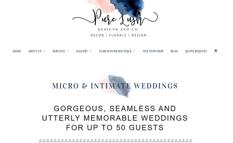 Pure Lush Designs Wedding Services - Website and Online Store